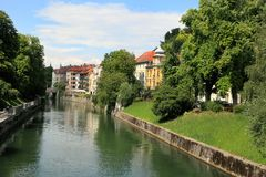Ljubljana -Slovenia - city centre, view on the river Stock Images