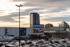 Ljubljana, Slovenia - 26.2.2019 :DECATHLON front store photo ,View of Decathlon Shop front The Sport Complex, at TESCO. DECATHLON front store photo ,View of royalty free stock image