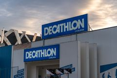 Ljubljana, Slovenia - 26.2.2019 :DECATHLON front store photo ,View of Decathlon Shop front The Sport Complex, at TESCO. DECATHLON front store photo ,View of stock images