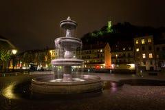Ljubljana,slovenia. Slovenia Ljubljana Fountain and Castle Stock Images