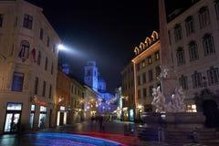 LJUBLJANA SLOVENIA, GRUDZIEŃ, - 21, 2017: Adwentowa Grudzień noc Zdjęcie Stock