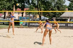 Aleyna Vence`s attack in qualification round. Ljubljana, Slovenia - JULY 20, 2017: Aleyna Vence`s attack in qualification round of Ljubljana Beach Volley Stock Photography