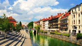 LJUBLJANA, SLOVENIA -  JULY 28, 2014: Old town embankment in Lju Royalty Free Stock Images