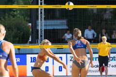 Tjasa Kotnik from Slovenia receiving the ball as Iryna Makhno from Ukraine is setting up tactics. Ljubljana, Slovenia - JULY 22, 2017: Tjasa Kotnik from Slovenia Royalty Free Stock Image