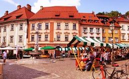 LJUBLJANA, SLOVENIA -  JUNE 28, 2014: Street in the old city cen Stock Images