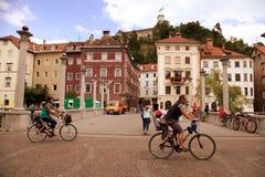 LJUBLJANA, SLOVENIA -  JUNE 28, 2014: Unidentified people crossi Stock Photo