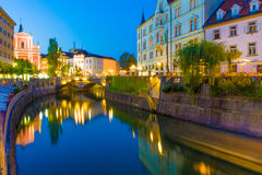 Ljubljana (Slovenia) at night Royalty Free Stock Image