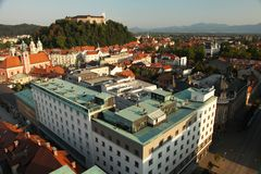 Ljubljana slovenia panorama stock photos