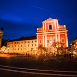 Church and famous old buildings in the city center. Sunset in Ljubljana, Slovenia royalty free stock image