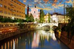 Ljubljana, Slovenia. Ljubljana at a twiligth - capital town of Slovenia royalty free stock photography