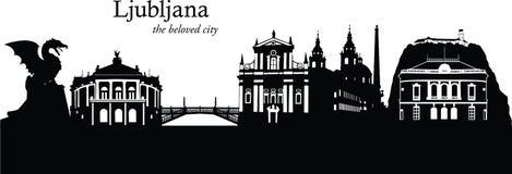 Ljubljana, Slovenia. Vector illustration of the skyline cityscape of Ljubljana, Slovenia Royalty Free Stock Photography