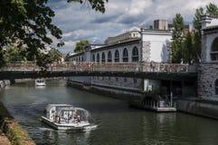Ljubljana Slovenien, Europa, horisont, Butchers' bro, Mesarski mest, spång, flod, kryssning, turist- fartyg, Ljubljanica Royaltyfri Foto
