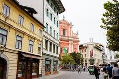 Ljubljana, Slowenien - 15. August 2017 Gehen die alte Stadt Lizenzfreie Stockbilder