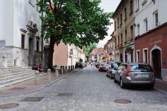 Ljubljana, Slowenien - 15. August 2017 Gehen die alte Stadt Stockfotos