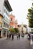 Ljubljana, Slowenien - 15. August 2017 Gehen die alte Stadt Lizenzfreie Stockfotografie