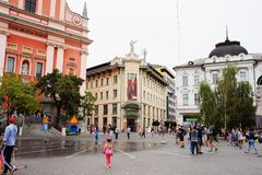 Ljubljana, Slowenien - 15. August 2017 Presern-Quadrat in der Ljubljana-Panoramablickhauptstadt von Slowenien Lizenzfreies Stockbild