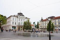 Ljubljana, Slowenien - 15. August 2017 Presern-Quadrat in der Ljubljana-Panoramablickhauptstadt von Slowenien Stockbilder