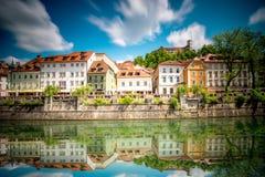 Ljubljana stad i Slovenien Arkivfoto