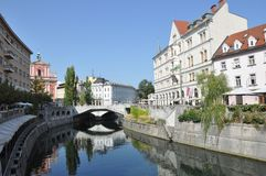 Ljubljana stadsmitt Fotografering för Bildbyråer