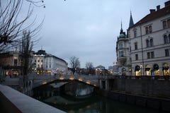 Ljubljana-Stadt Slowenia-Abend Lizenzfreie Stockfotografie