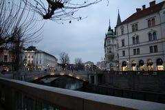 Ljubljana-Stadt Slowenia-Abend Stockfotografie