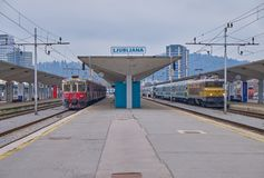 Ljubljana station with trains royalty free stock photos