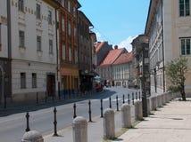 Ljubljana street. Old street in Ljubljana - Slovenia Stock Images