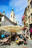 Ljubljana street cafe Stock Images