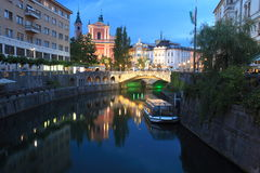 Ljubljana. The sunset in historic center of Ljubljana, Slovenia Stock Image