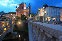 Ljubljana at sunset Stock Image