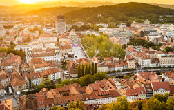 Ljubljana at sunset, Slovenia Royalty Free Stock Photography