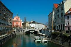 Ljubljana town center. Picture of Ljubljana town center and river Ljubljanica by day Royalty Free Stock Photos