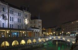 Ljubljana - tre broar Arkivbilder