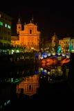Ljubljana tromostovje. In the night Royalty Free Stock Image