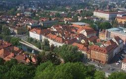 Ljubljana von oben Lizenzfreies Stockbild