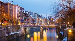 Ljubljana w Bożenarodzeniowym czasie Slovenia, Europa Zdjęcia Stock
