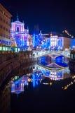 Ljubljana w Chirstmas dekoraci Fotografia Royalty Free