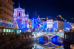 Ljubljana w Chirstmas dekoraci Zdjęcia Royalty Free
