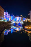 Ljubljana w Chirstmas dekoraci Obrazy Stock