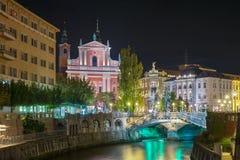 Ljubljana y noche Imagen de archivo