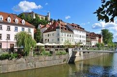 Ljubljanas castle rising above city center, Ljubljana, Slovenia Royalty Free Stock Image