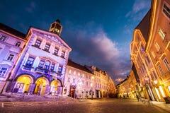 Ljubljanas stad centrerar, Slovenien, Europa. Arkivfoton