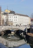 Ljubljanica河和三座桥梁,卢布尔雅那 库存照片