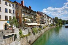 Ljubljanica河流经卢布尔雅那 库存图片