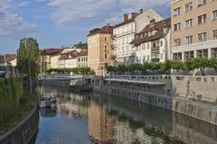 Ljubljanica flod tidigt i en sommarmorgon Royaltyfri Fotografi
