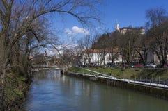 The Ljubljanica River. Cuts through the heart of Ljubljana, Slovenia Stock Photography