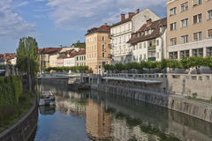 Ljubljanica river early in a summer morning Royalty Free Stock Photography
