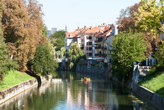 Ljubljanica River in Ljubljana. Stock Photography