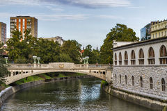 Ljubljanica River in Ljubljana Royalty Free Stock Photography