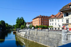 Ljubljanica River in Ljubljana, Slovenia Stock Photography